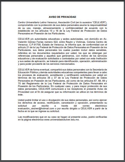 AVISO DE PRIVACIDAD. INSTITUCIÓN EVALUADORA CENTRO UNIVERSITARIO LATINO VERACRUZ A.C.
